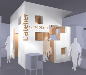 Espace de découverte des produits du magasin, atelier en forme de cube